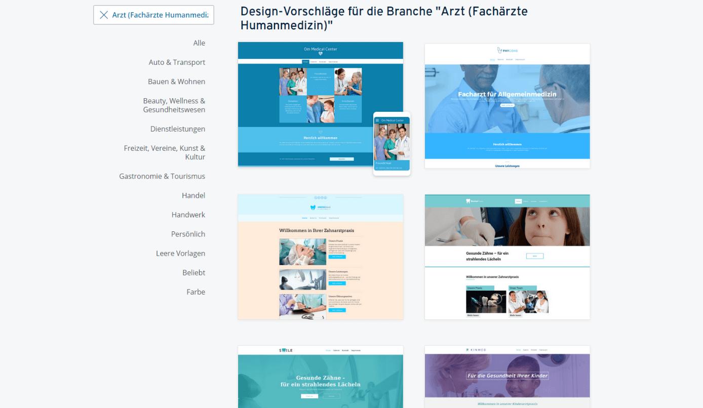 IONOS Design-Vorlagen: Auszug der Vorschläge für die Ärzte-Branche