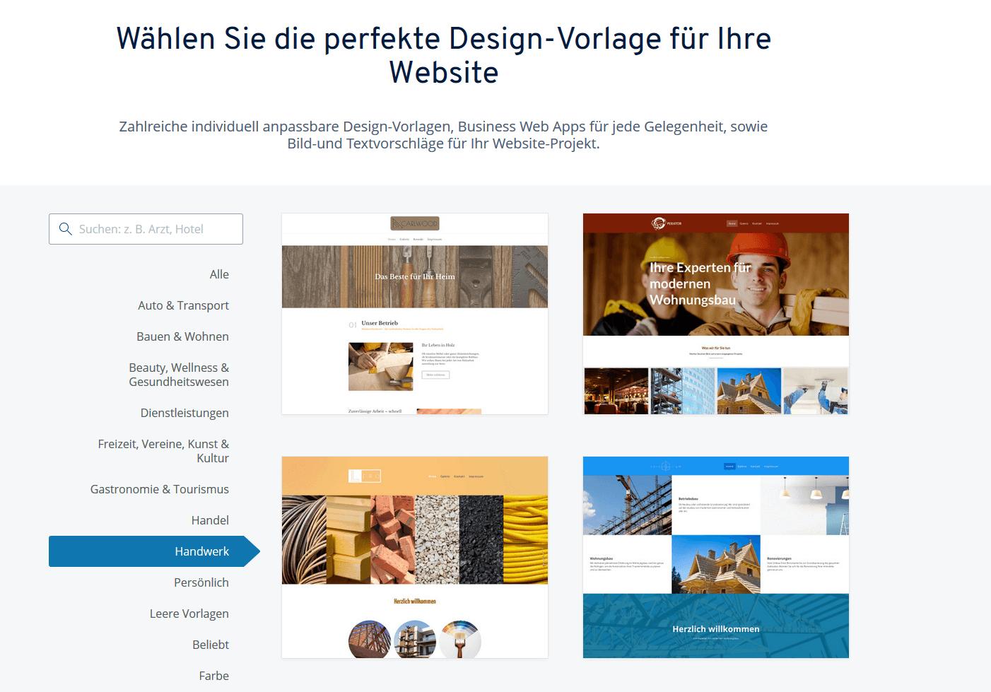IONOS-Design-Vorlagen für Ihre Handwerker-Website