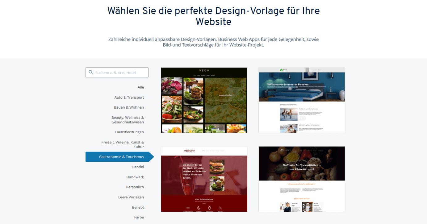 Design-Vorlagen für Restaurant-Websites