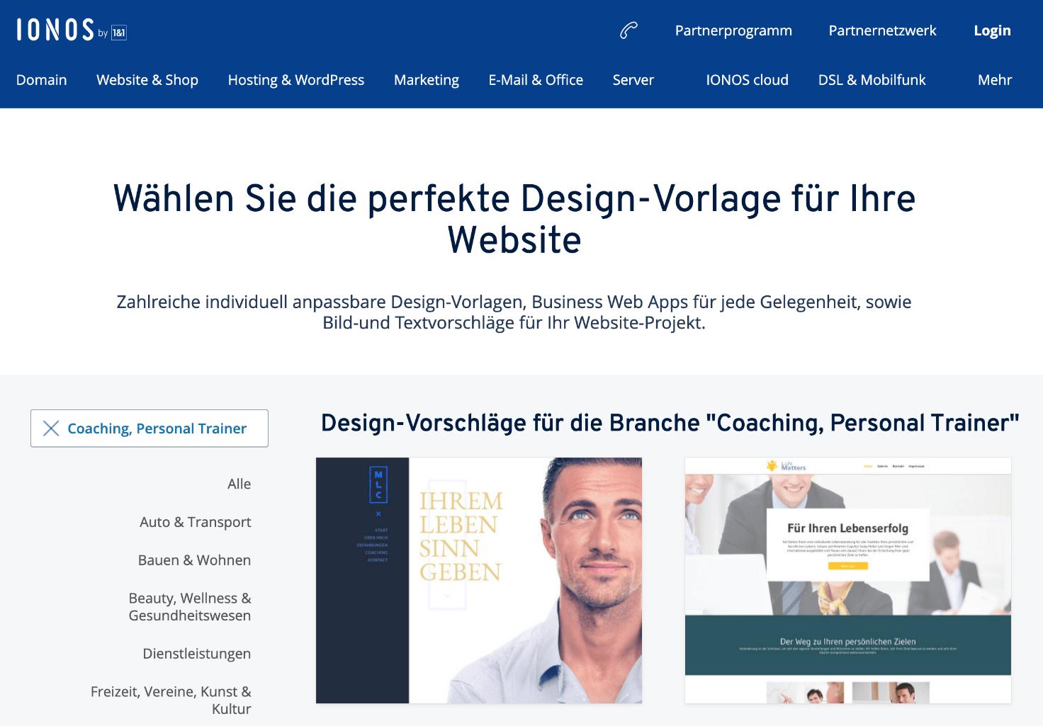 Design-Vorlage für Coaching-Website