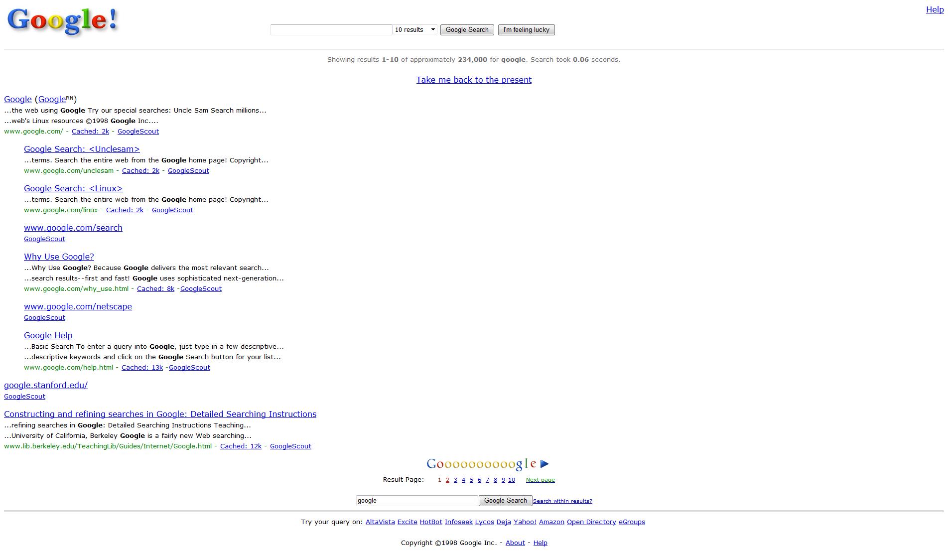 Google-Search im Jahr 1998