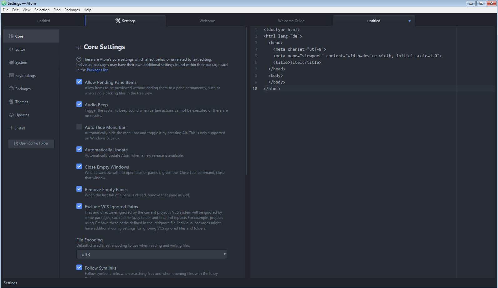 Atom web editor menu