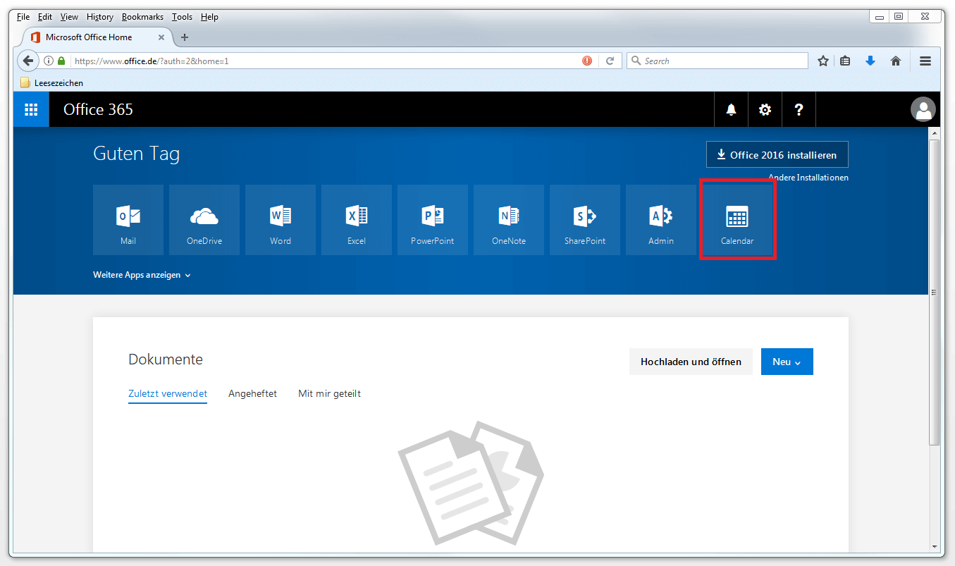 Outlook-Kalender freigeben - 1&1