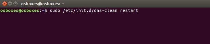 Ubuntu-Terminal: Restart von dns-clean