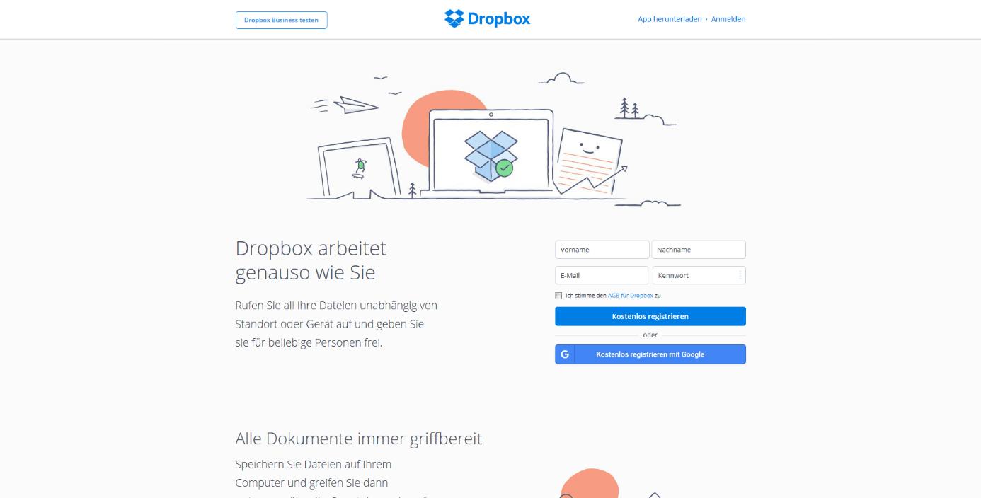 Dropbox anmelden