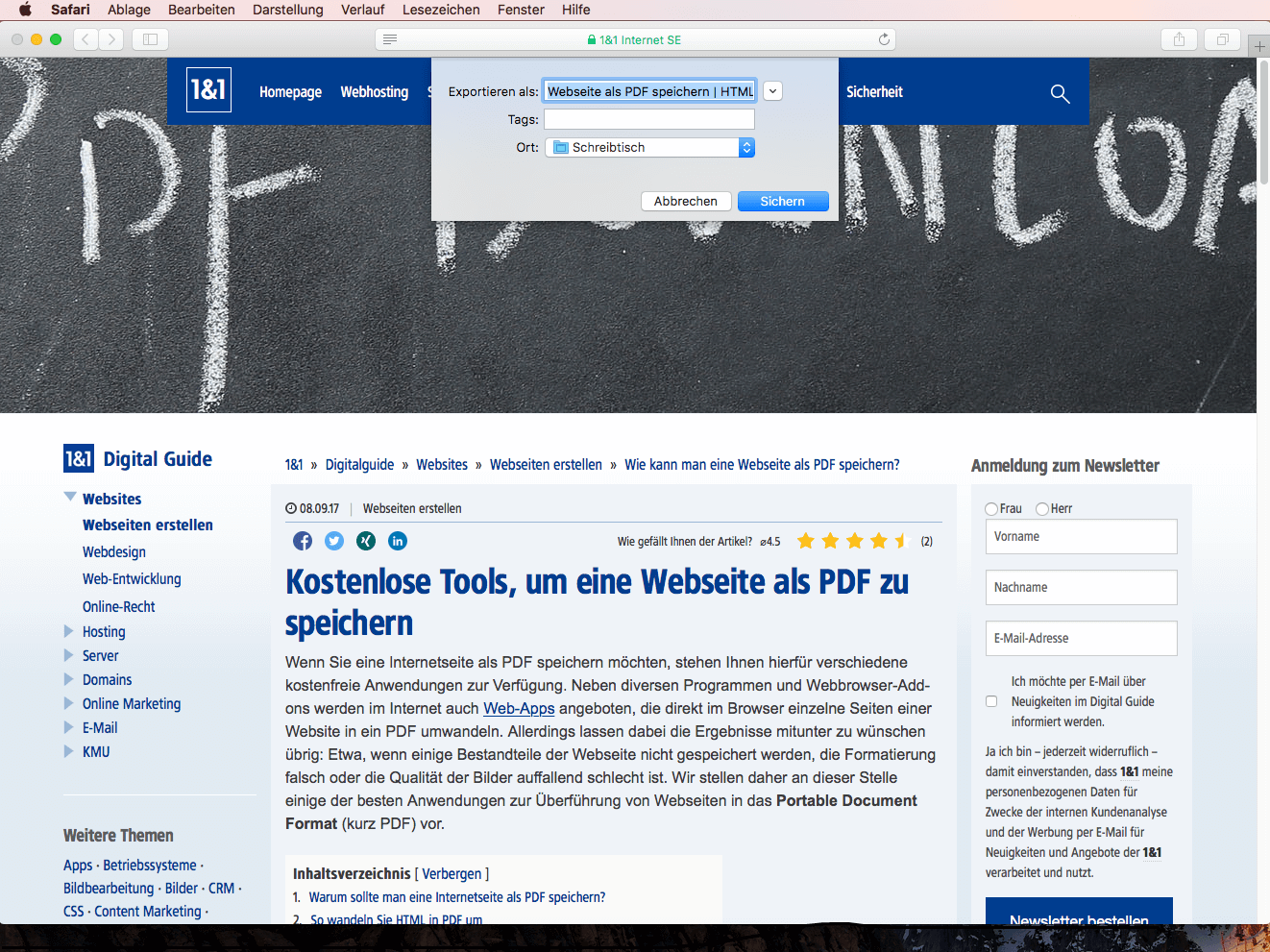 Webseite als PDF speichern | HTML-Seite in ein PDF umwandeln - 1&1