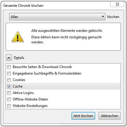 """Fenster """"Gesamte Chronik löschen"""" mit Auswahl"""