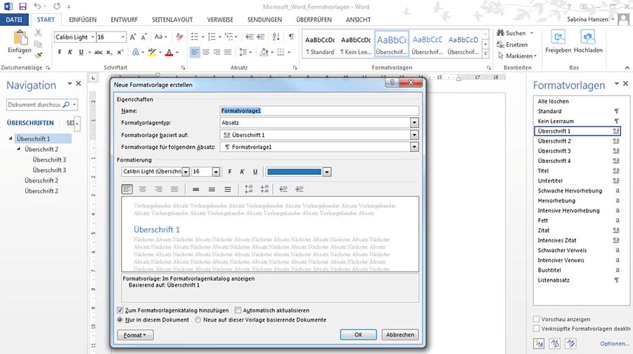 Word-Vorlagen: Formatvorlagen erstellen und verändern - 1&1