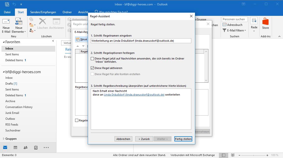 So bestatigen Sie den Erhalt der E-Mail-Adresse auf Outlook