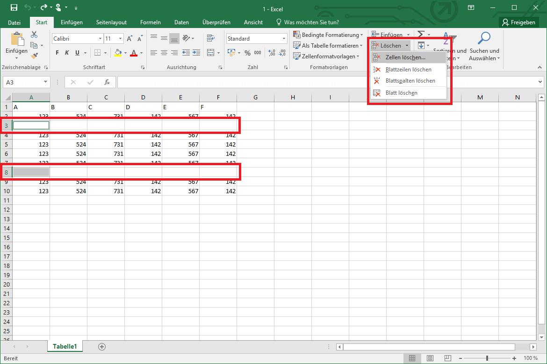 Leere Zellen Löschen Excel