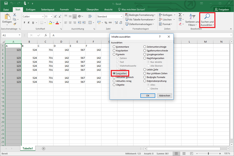 Excel Leere Zellen Löschen