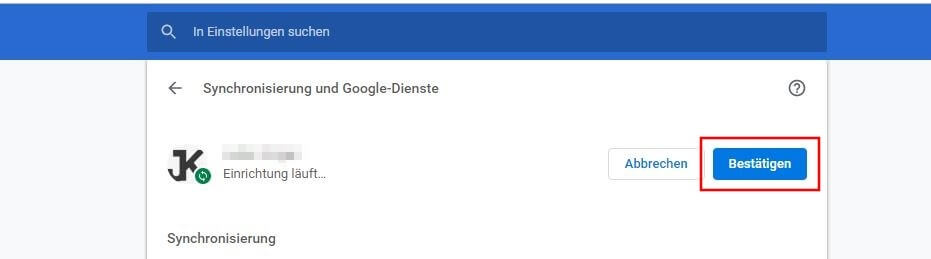 Google Chrome Synchronisierung Pausiert
