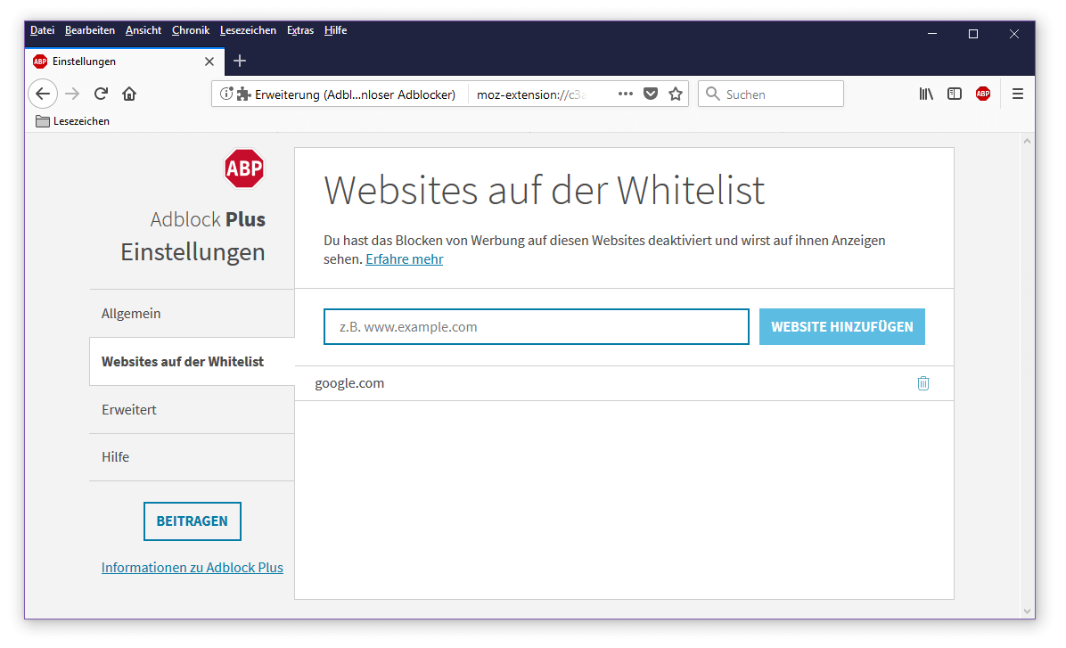 adblocker deaktivieren firefox