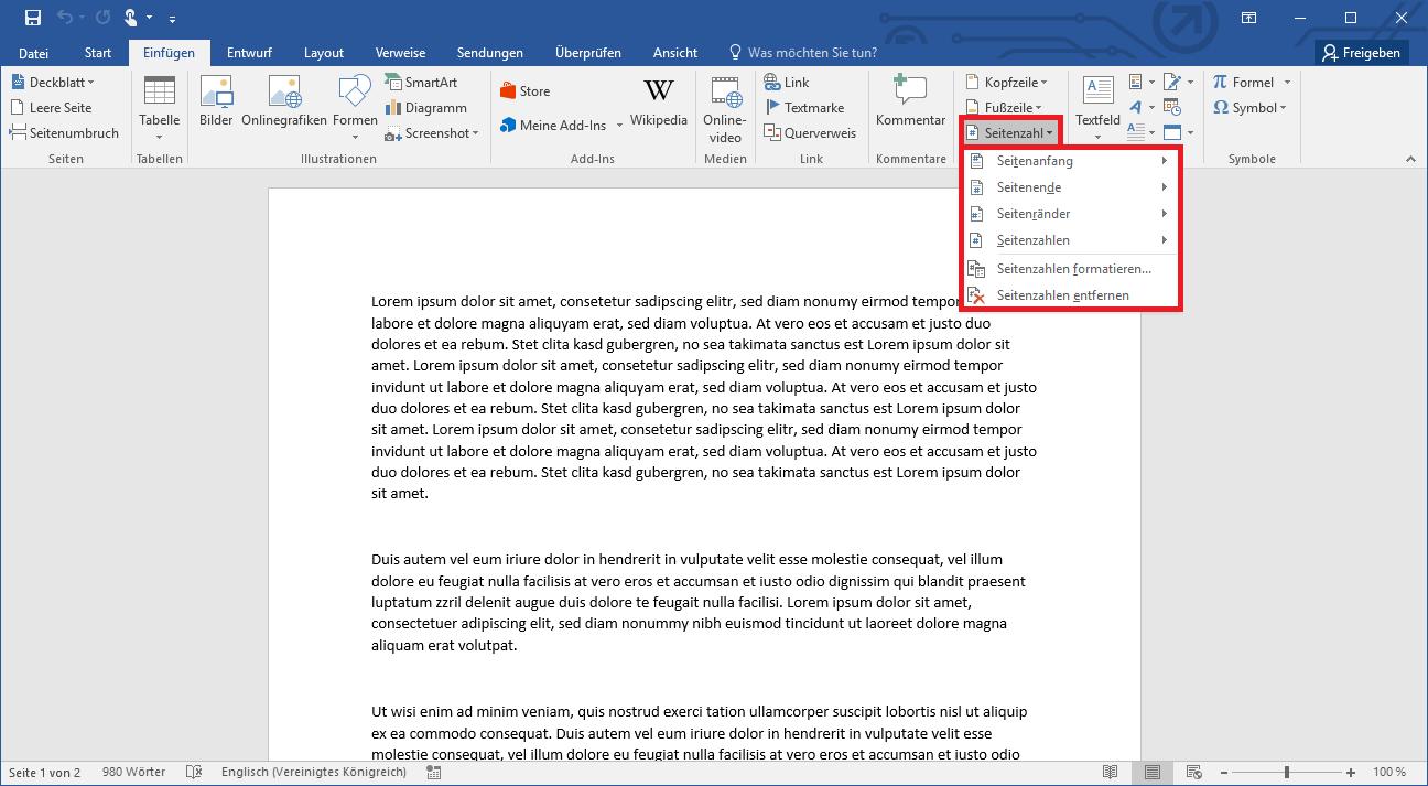 Word Seitenzahlen einfügen, anpassen und richtig nummerieren   IONOS