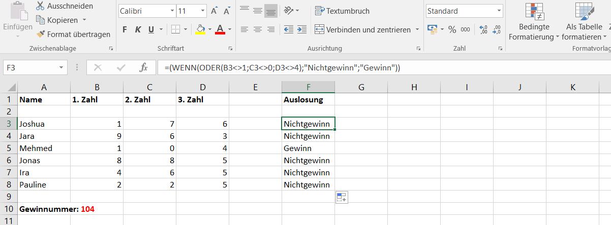Excel Ungleich