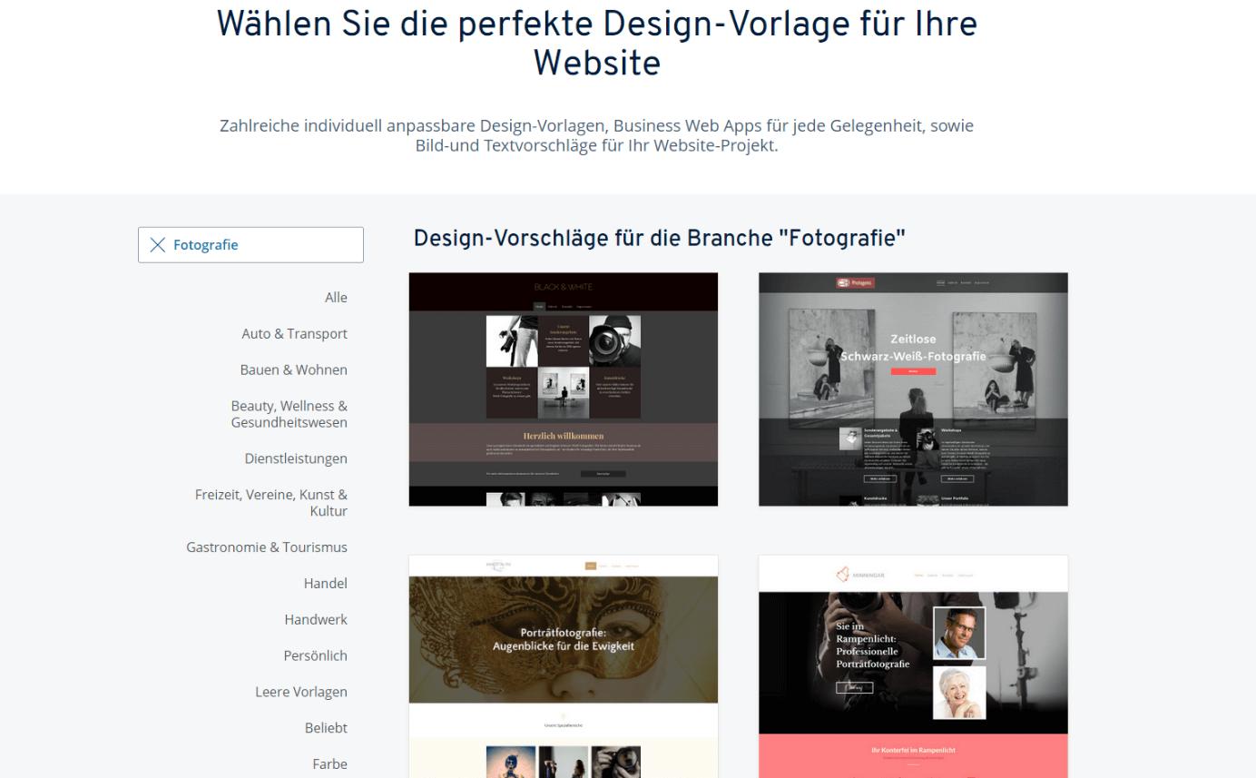 IONOS-Design-Vorlagen für Ihre Fotografen-Website