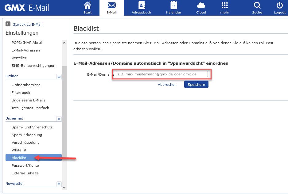 App vorgeschlagene adressen gmx löschen email Gmx app