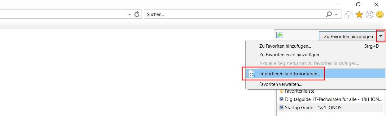 internet explorer favoriten importieren
