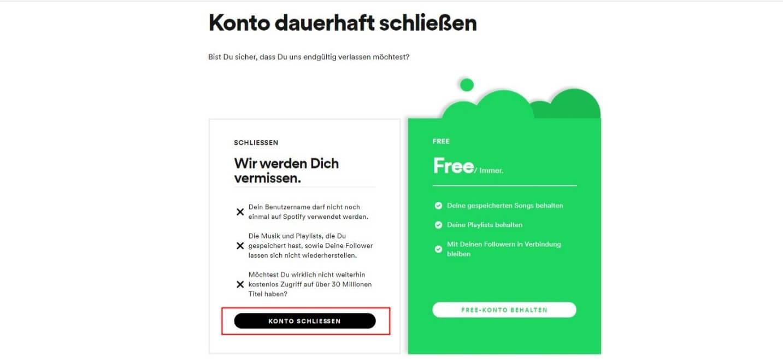 Löschen account Meinen Account