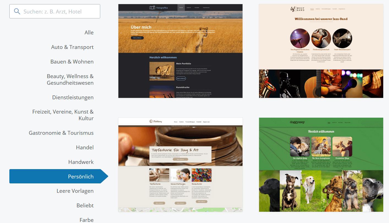 IONOS Templates für Bewerbung-Websites