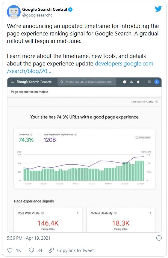 Tweet des Google-Teams zu den Core Web Vitals