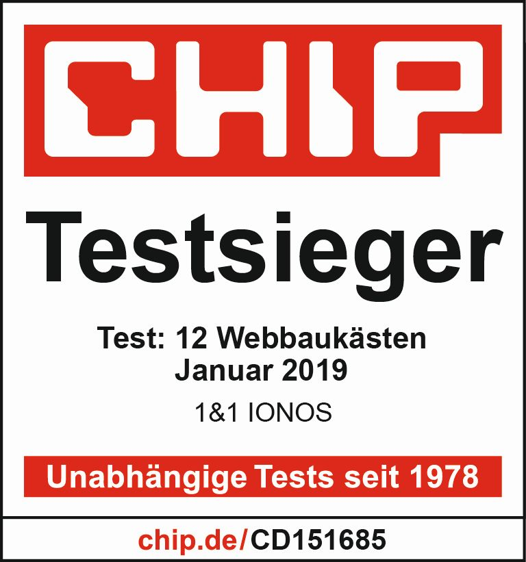 1&1 IONOS MyWebsite Chip Testsieger