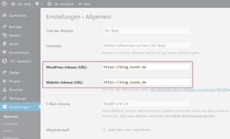 WordPress auf HTTPS (SSL) umstellen - 1&1 Hosting