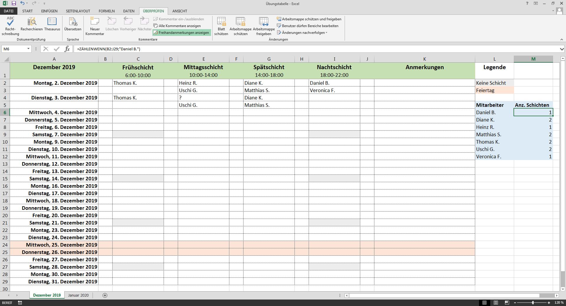Excel Monatsubersicht Aus Jahres Dienstplan