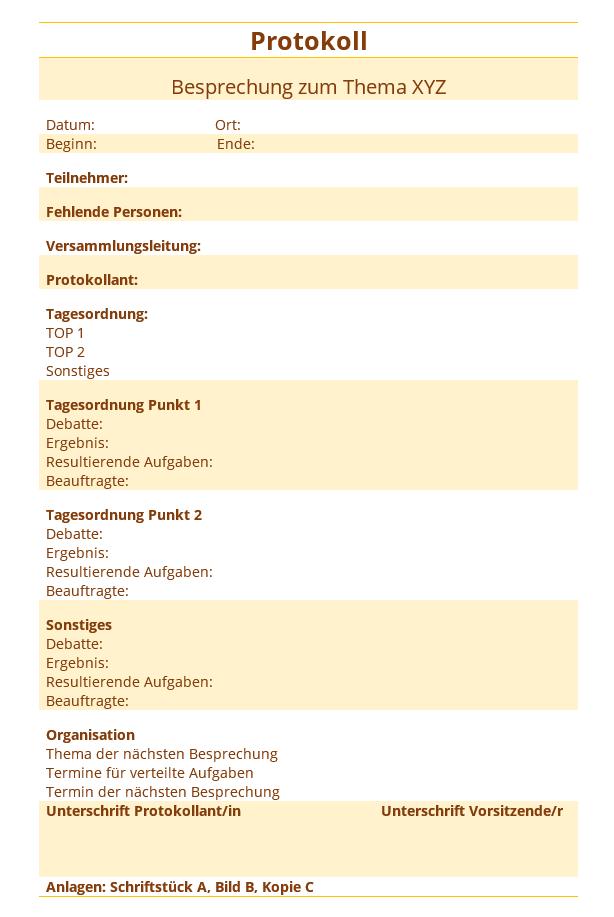 Protokoll Vorlage Kostenlos Word Excel Briefvorlagen Ch 6