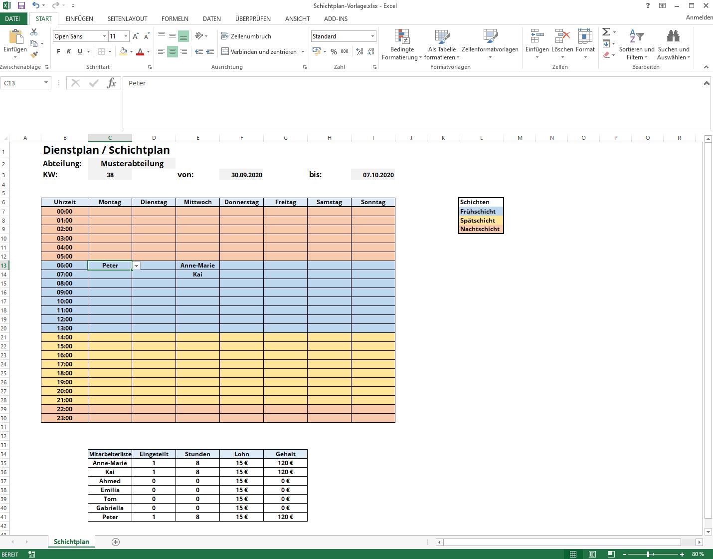 Dienstplan Excel Vorlage Staffomatic By Easypep 5