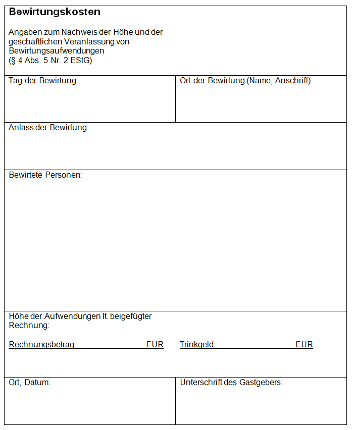 Bewirtungsbeleg Fill Online Printable Fillable