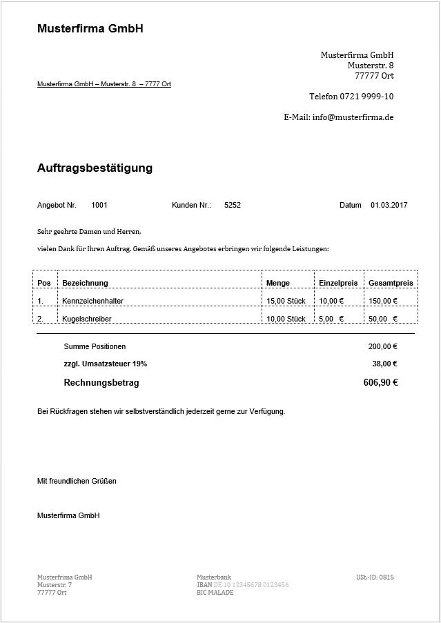 Auftragsbestätigung-Muster: Grundlagen und Anleitung - 1&1